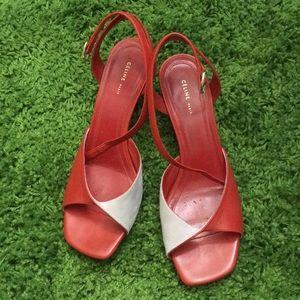 CELINE mid-heel sandals in red and pink suede